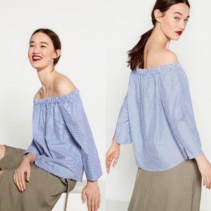 Zara Striped Off-the-shoulder Poplin Blouse